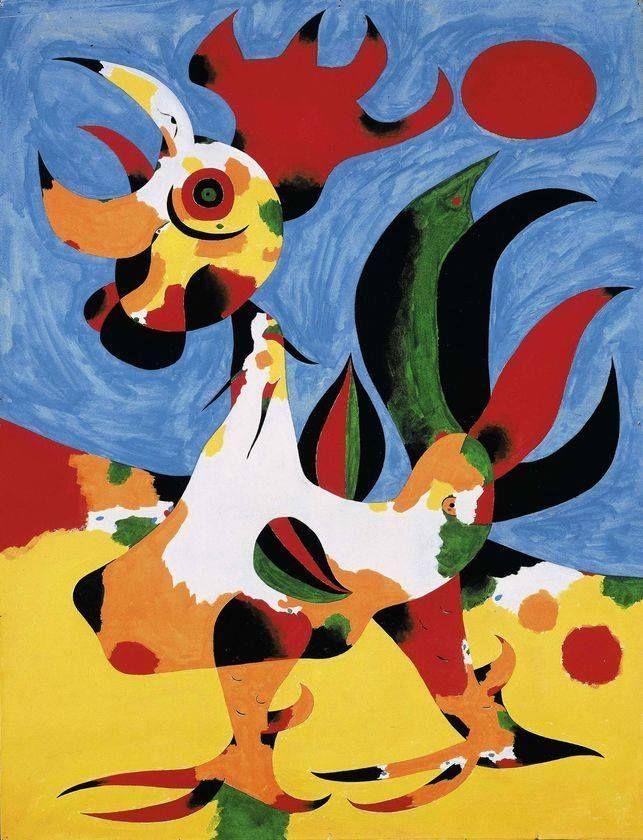 ORIGINAL: 1940. LE COQ. MIRÓ. surrealismo abstracto
