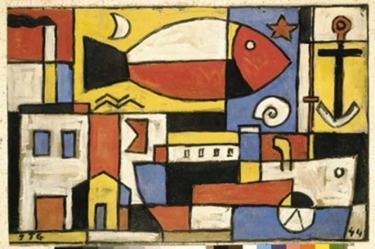 ORIGINAL: 1944. CONSTRUCCIÓN (Boceto para el mural de Saint Bois). JOAQUÍN TORRES GARCÍA. constructivismo