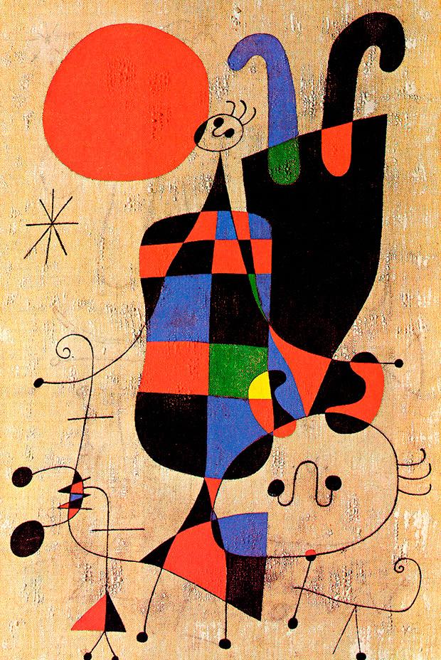 ORIGINAL: 1949. PERSONAJE Y PERRO DELANTE DEL SOL. MIRÓ. Surrealismo abstracto