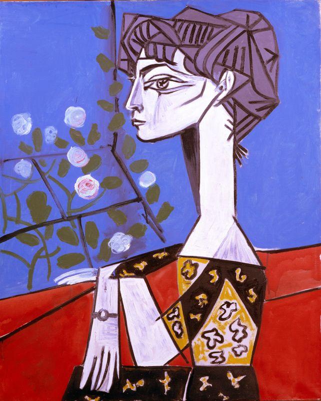 ORIGINAL: 1954. JACQUELINE CON FLORES. PICASSO. cubismo