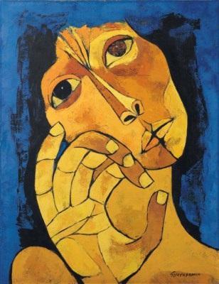 ORIGINAL: 1982. CABEZA DE MUJER CON FONDO AZUL. OSWALDO GUAYASAMÍN